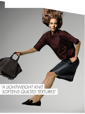 A LIGHTWEIGHT KNIT SOFTENS QUILTED TEXTURES