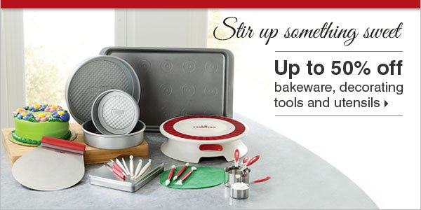 Stir up something sweet with up to 50% off  Cake Boss™ bakeware, decorating tools and utensils.