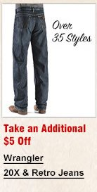 Take an Additional 5 off Wrangler 20X and Retro Jeans