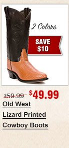 Old West Lizard Printed Cowboy Boots