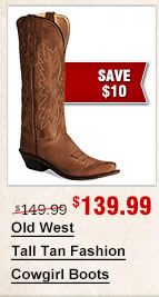 Old West Tall Tan Fashion Cowgirl Boots
