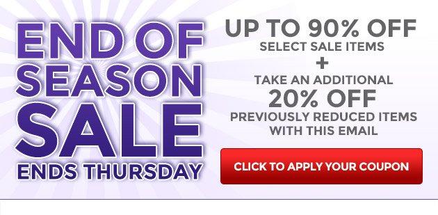 End of Season Sale Ends Thursday