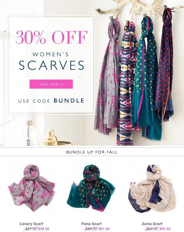Time to Bundle Up | 30% Off Scarves