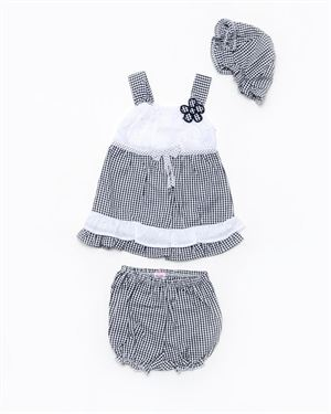 Coney Island Plaid Flower Three-Piece Set