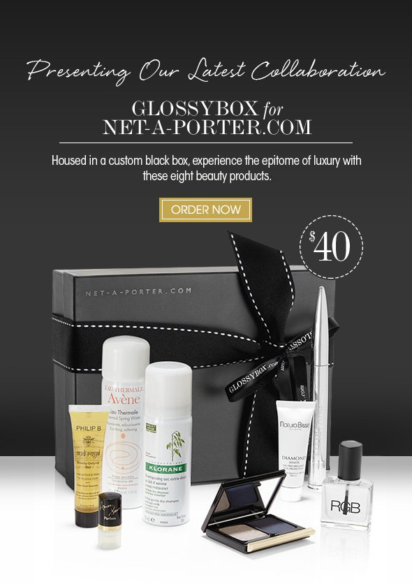 Presenting Our Latest Collaboration  GLOSSYBOX for NET-A-PORTER.com.  Housed in a custom black box, experience the epitome of luxury with these eight beauty products.  >> Shop Now