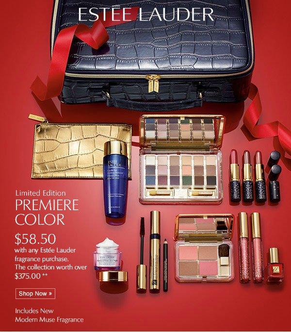 Estée Lauder Limited Edition Premiere Color $58.50 with any  Estée Lauder fragrance purchase. The collection worth over  $375.00 Shop Now.