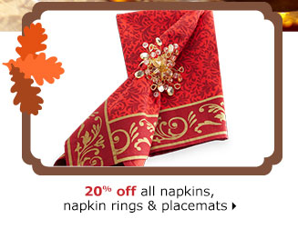 20% off all napkins, napkin rings & placemats