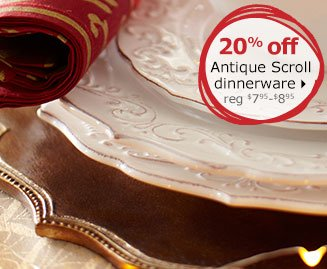 20% off Antique Scroll dinnerware