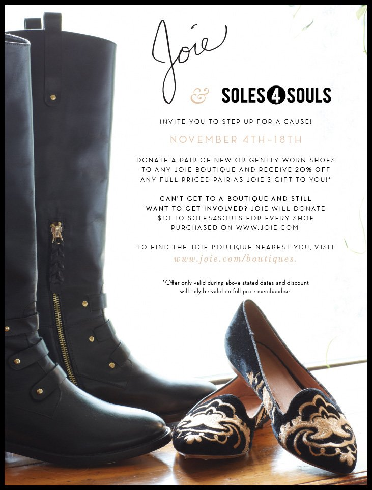 Joie & SOLES 4 SOULS INVITE YOU TO STEP UP FOR A CAUSE NOVEMBER 4TH - 18TH