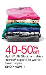 40-50% off Apt. 9, AB Studio and daisy fuentes apparel for women. Select styles. SHOP NOW
