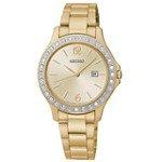 Seiko SXDF82 Women's Swarovski Crystal Gold Tone Dial Gold Plated Steel Watch