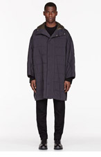PAUL SMITH Charcoal wool & down hooded CAPE for men
