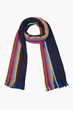 PAUL SMITH Navy & Neon striped wool scarf for men