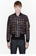 PAUL SMITH Khaki Houndstooth Bomber Jacket for men