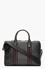 PAUL SMITH Black Leather Multistripe Briefcase Tote for men