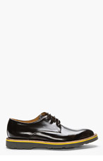 PAUL SMITH Black Leather Yellow-Trimmed Bailey Derbys for men