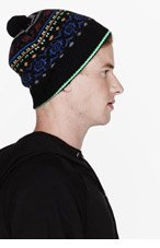 PAUL SMITH Blue & green patterned pom-pom beanie for men
