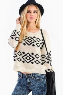 BORN TWO TONE AZTEC SWEATER 44