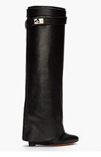 GIVENCHY Black Leather Shark Lock Wedge Boots for women