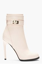 GIVENCHY Baby pink leather Shark Lock Ankle Boots for women