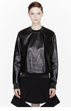 GIVENCHY Black Leather sweatshirt for women