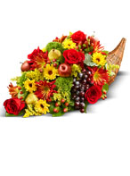 Thanksgiving Smiles will be plentiful when you set the table with our Fresh Flower Cornucopia centerpiece!