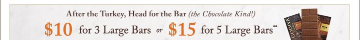 After the Turkey, Head for the Bar (the Chocolate Kind!) $10 for 3 Large | $15 for 5 Large Bars