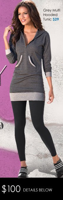 Comfy AND Stylish - Grey Multi Hooded Tunic just $29