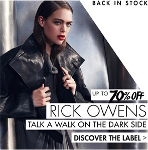 RICK OWENS UP TO 70% OFF