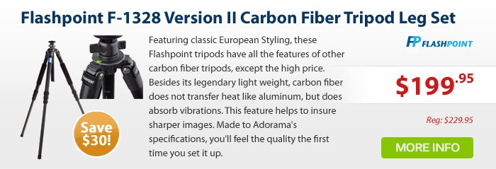 Adorama - Flashpoint F-1328 Version II Carbon Fiber Tripod