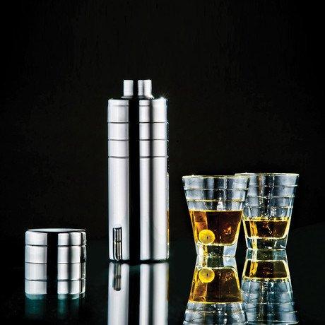 Cocktail Shaker Plaza + 4 Glasses