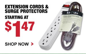 Extension Cords & Surge Protectors starting at $1.47