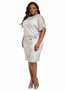 Web Exclusive: Lace Blouson Dress with Satin Belt