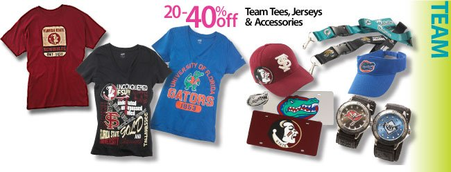 Save 20-40% off Team tees, jerseys and accessories