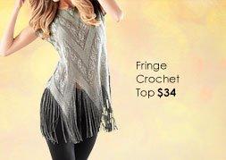 OUTSTANDING Fringe Crochet Top