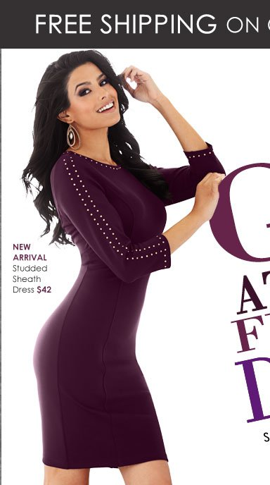 NEW ARRIVAL! Gorgeous Studded Sheath Dress! A perfect fit for all of your holiday parties!
