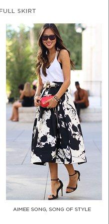 Aimee Song in Tibi's Paint Splatter Full Skirt