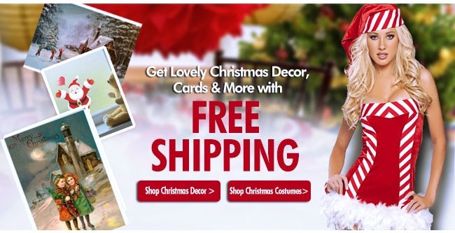 Get Lovely Christmas Decor, Cards & More with Free Shipping