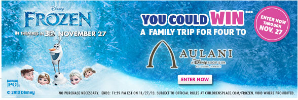 Disney Frozen Sweepstakes - Win a Trip for Four!