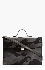 VALENTINO Navy Leather camo Print Briefcase for men