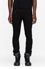 JULIUS Black Jacquard Denim Jeans for men