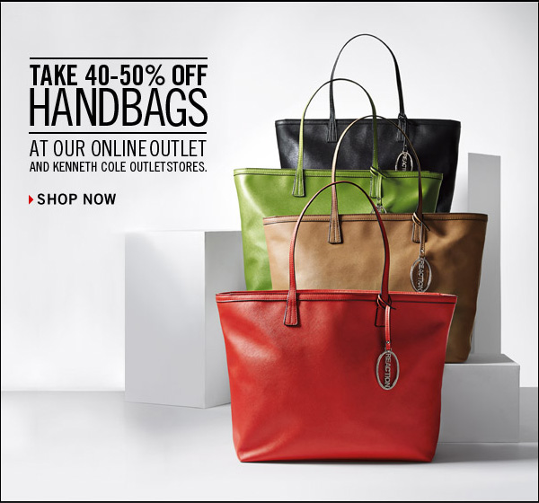 TAKE 40-50% OFF HANDBAGS AT OUR ONLINE OUTLET AND KENNETH COLE OUTLET STORES. // Shop Now