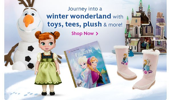 Journey into a winter wonderland with toys, tees, plush and more | Shop Now