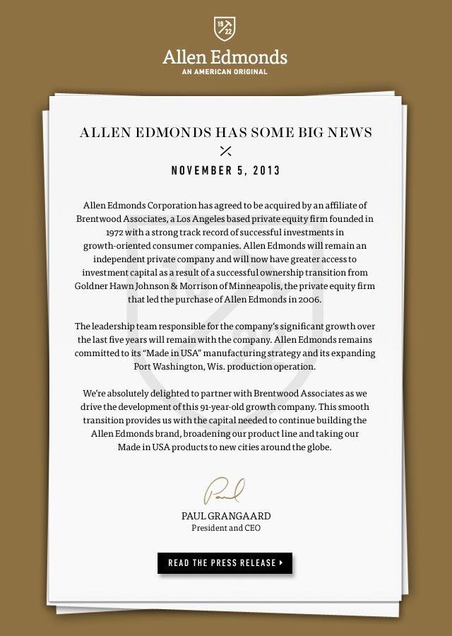 Allen Edmonds Has Some Big News