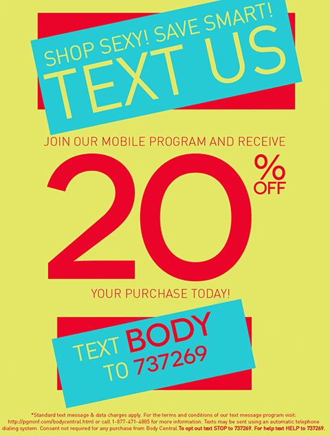 Sign up for Text Offers and Take 20% off your next purchase!