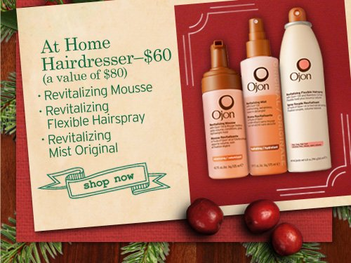 At Home Hairdresser - $60 (a value of $80) - Revitalizing Mousse - Revitalizing Flexible Hairspray - Revitalizing Mist Original  SHOP NOW