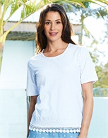 Lace Trim Embroidered Tee