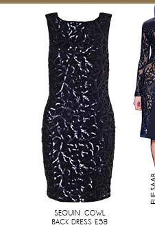 Sequin Pattern Cowl Back Dress