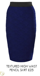 Textured High Waist Pencil Skirt