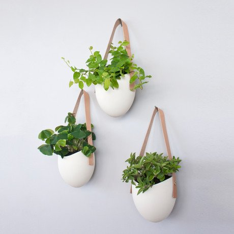 Porcelain and Leather Planter // Set of 3